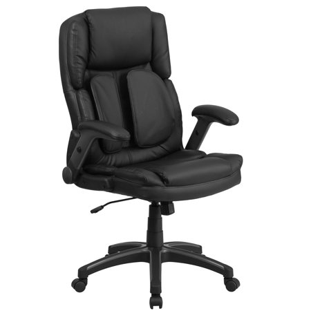 Comfort Executive Office Chair - Flash Furniture Extreme Comfort High Back Black Leather Executive Swivel Office Chair with Flip-Up Arms