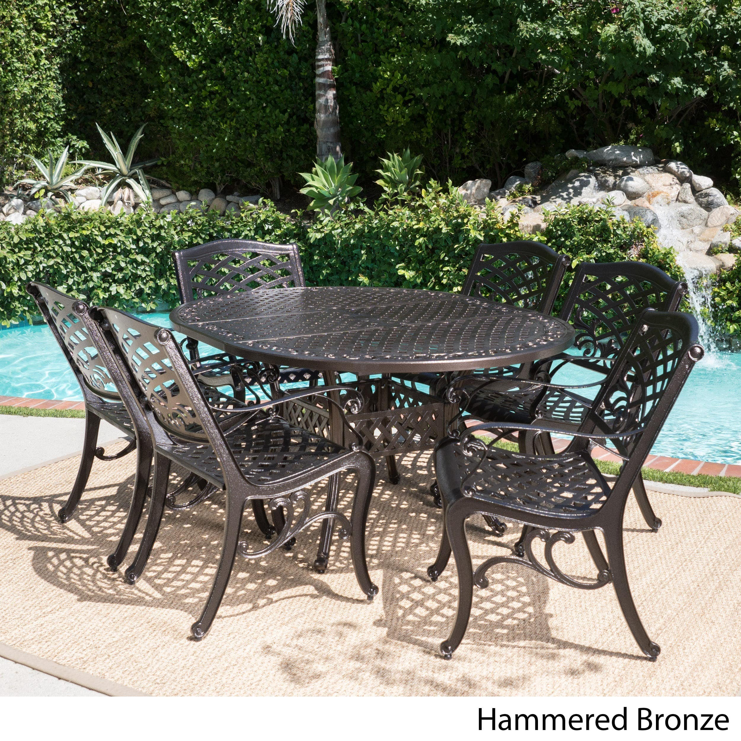 Christopher Knight Home Windley Outdoor Expandable Aluminum Dining Set with Umbrella Hole by