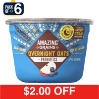 Amazing Grains Overnight Oats Blueberry Apple with Probiotics, 2.2 oz Cup (Pack of 6)