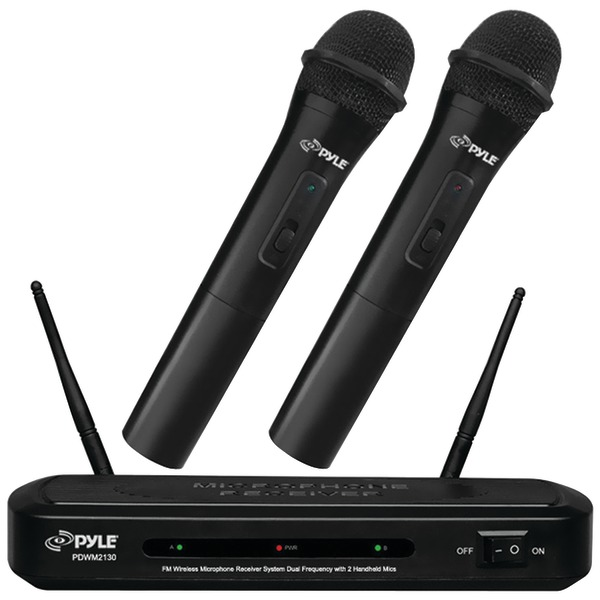 Pyle Audio PDWM2130 Pyle FM Wireless Microphone Receiver System Dual Frequency with 2 Handheld Mics - 109 MHz to 113 MHz System Frequency