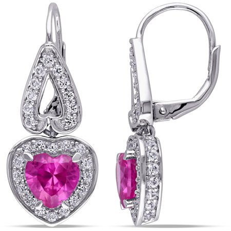 4-3/4 Carat T.G.W. Created Pink and White Sapphire Sterling Silver Halo Heart Earrings - Genuine Pink Sapphire Earrings