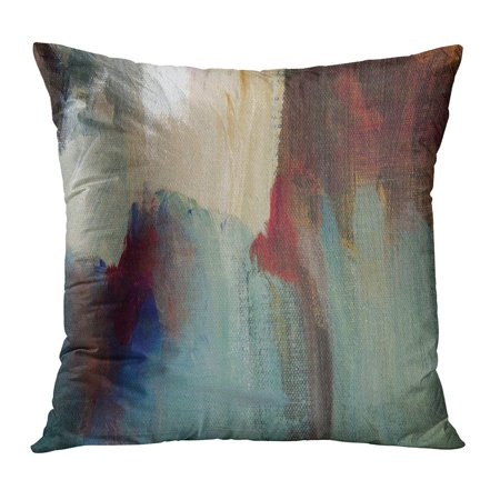 ECCOT Colorful Abstract Painting Detail in Olive Greens Browns Cream Black and Spot of Cobalt Blue Colours Pillowcase Pillow Cover Cushion Case 20x20 (Cobalt Blue Cream)