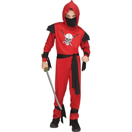 Secret Agent Costumes (Red Skull Ninja Boys Child Secret Agent Halloween)