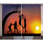 Teen Room Decor Curtains 2 Panels Set, Boys Playing Basketball at Sunset Horizon Sky Dramatic Scene, Window Drapes for Living Room Bedroom, 108W X 84L Inches, Dark Coral Black Yellow, by Ambesonne