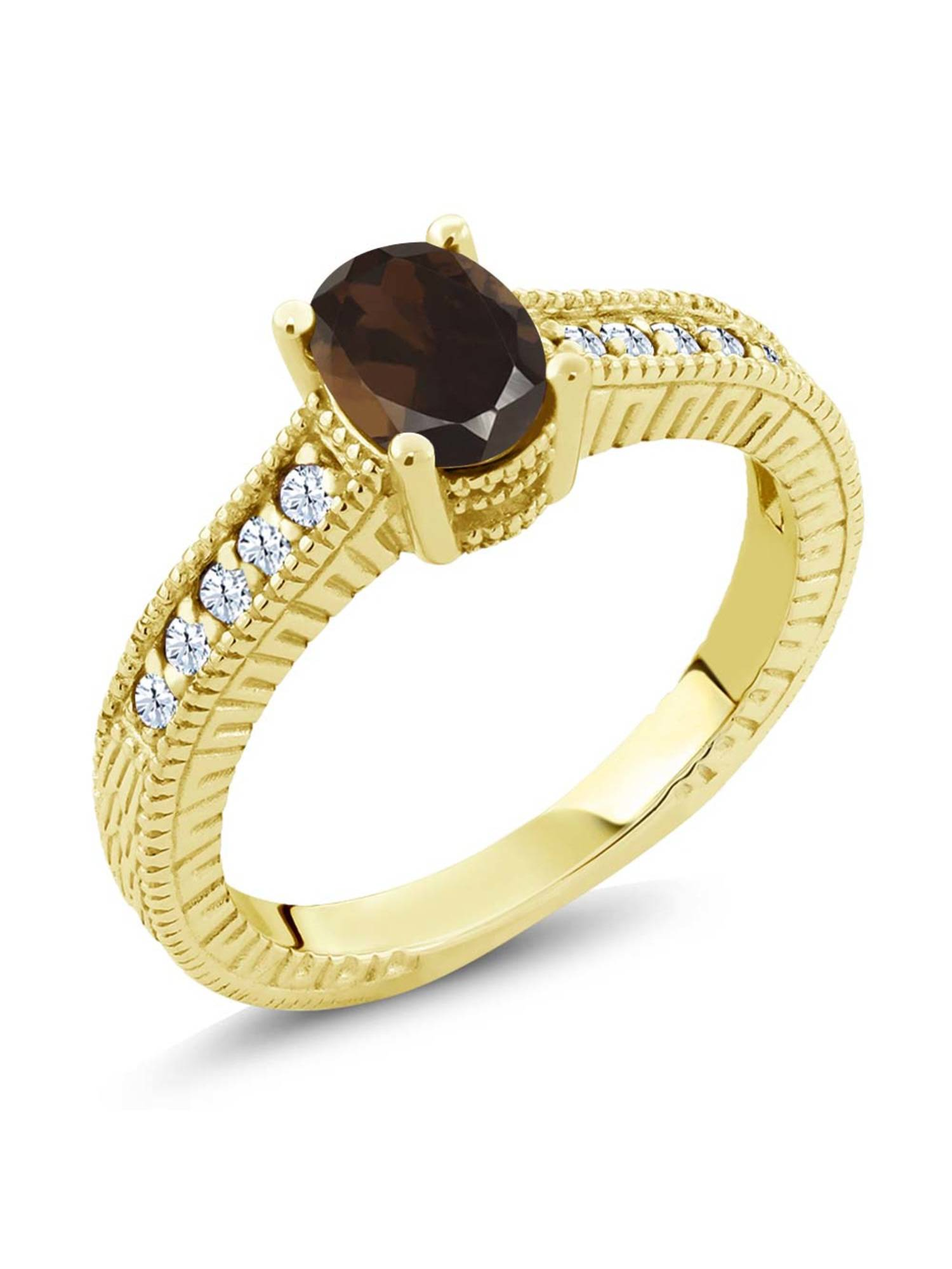 1.15 Ct Brown Smoky Quartz White Created Sapphire 18K Yellow Gold Plated Silver Ring