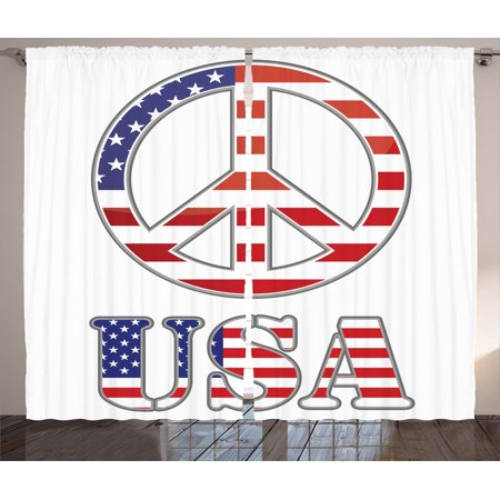 Groovy Decorations Curtains 2 Panels Set, Modern Peace Sign With Usa Flag Color Design Hippie Freedom No War Symbol Theme, Living Room Bedroom Accessories, By Ambesonne