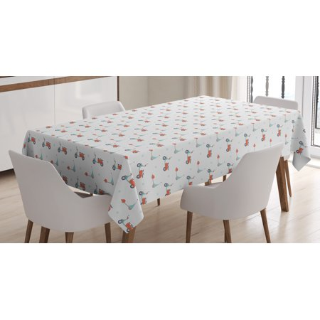 Motorcycle Tablecloth, Pastel Colored Mopeds and Scooters with Dots Going  to Opposite Directions, Rectangular Table Cover for Dining Room Kitchen, 60