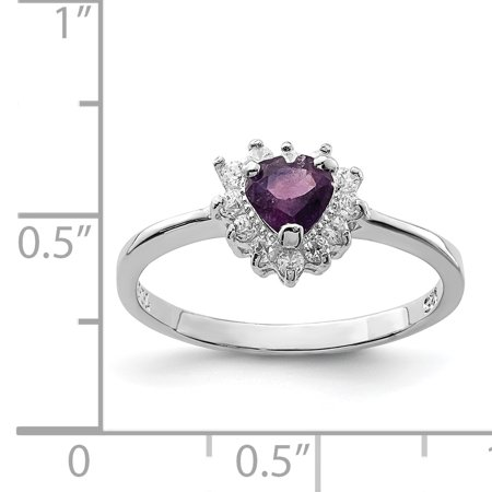 Sterling Silver Rhodium-plated Amethyst And Cz Heart Ring S/love Stone Gemstone Fashion Jewelry For Women Gifts For Her - image 1 of 6