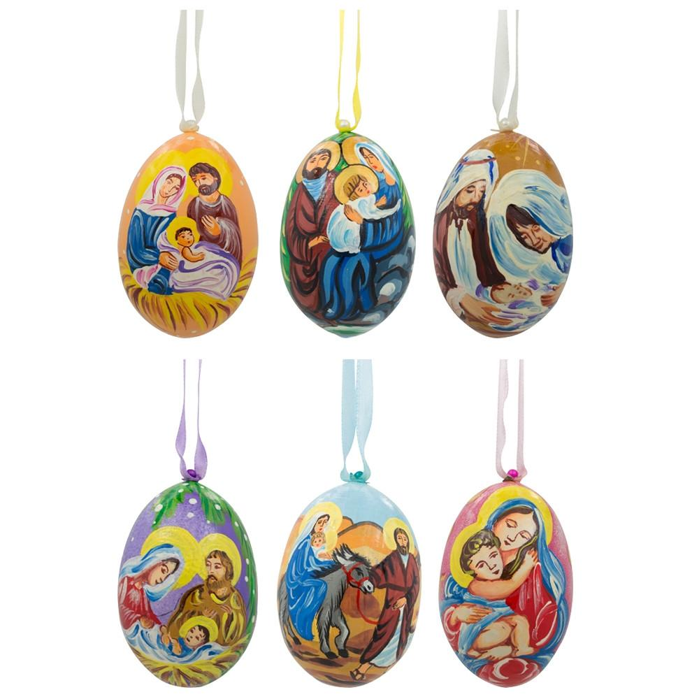 "3"" Set of 6 Jesus, Mary, Joseph Nativity Scene Set Wooden Christmas Ornaments"