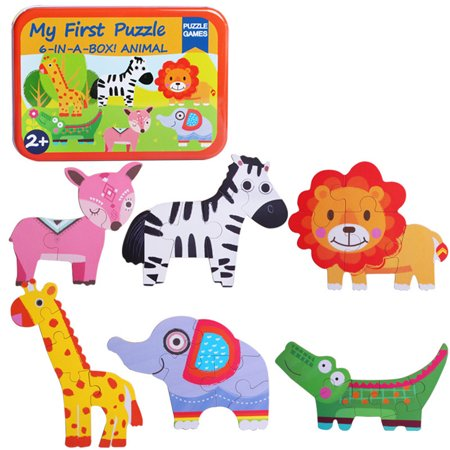 Educational Store (Simple 6-in-1 Wooden Kids Cartoon Animal Puzzle Educational Toy Jigsaw w/ Storage)