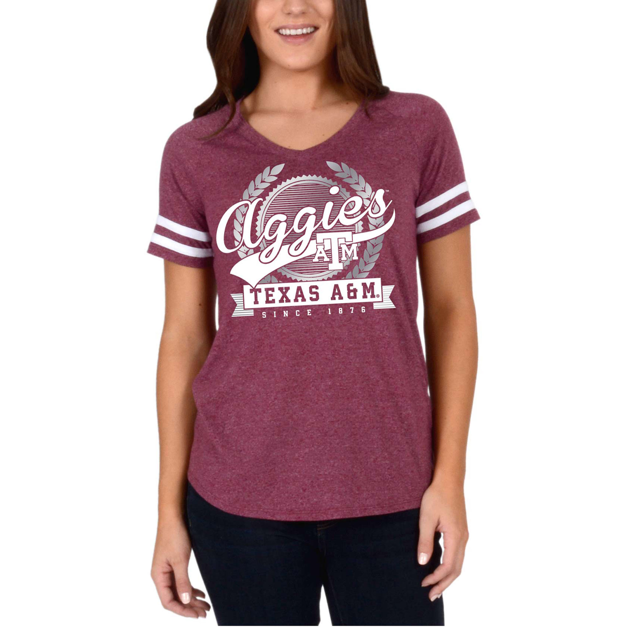 Women's Maroon Texas A&M Aggies Laurel Script V-Neck T-Shirt