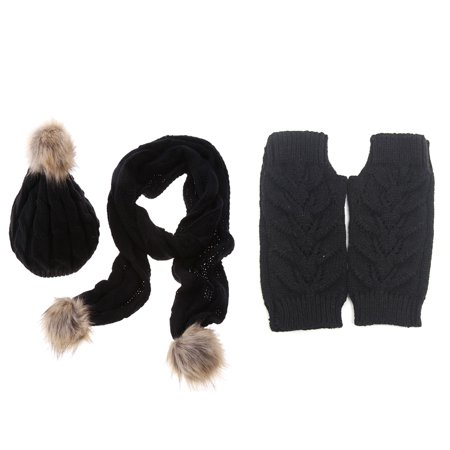 3 In 1 Women Soft Warm Thick Cable Knitted Hat Scarf   Gloves Winter Set Black