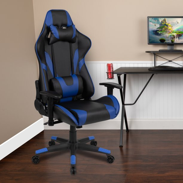 BlackArc Z200 Gaming Chair Racing Office Ergonomic Computer PC Adjustable Swivel Chair with Fully Reclining Back in Blue LeatherSoft