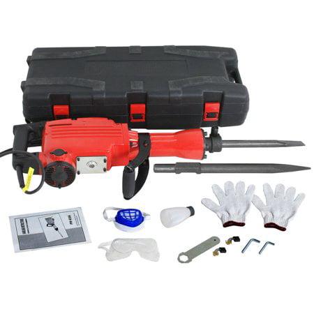 Zeny 2200W Heavy Duty Electric Demolition Jack Hammer Concrete Breaker Power Tool Kit 2 Chisel 2 Punch Bit Set W/Case, - Concrete Hammer