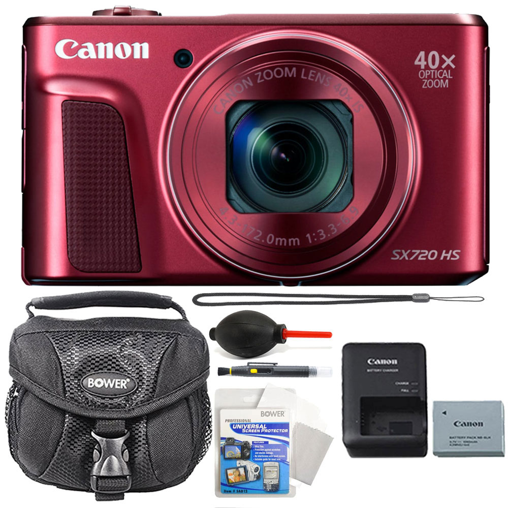 Canon PowerShot SX720 HS 20.3MP 40X Zoom Built-In Wifi / NFC Full HD 1080p Point and Shoot Digital Camera Red + Accessories