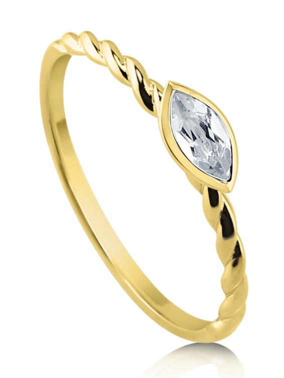 BERRICLE 10K Yellow Gold Marquise Cut Topaz Solitaire Cable Promise Ring Size 4