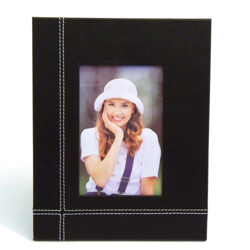 "Coco Brown Leather 4""X6"" Picture Frame With Easel Back"