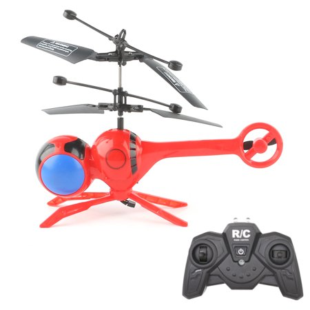 Levitated Luminous Dragonfly RC Helicopter 3 Channels Mini Remote Control Dragonflies Aerocraft Flash Colorful LED Disco Light-Up Flying Toy (Red)
