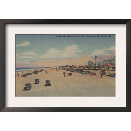 Jacksonville Beach, FL - The world's Widest Ocean Beach Framed Art Print Wall Art - Halloween Jacksonville Beach Fl