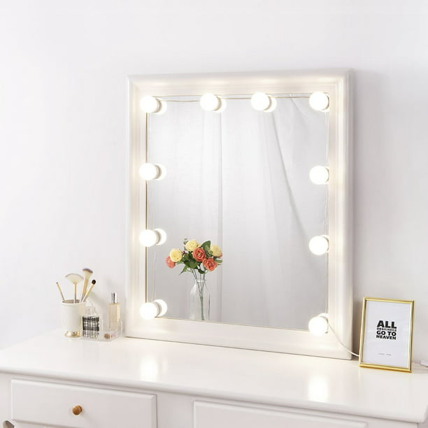 Diy Hollywood Lighted Makeup Vanity Mirror With Dimmable Lights Vanity Lights For Mirror Stick On Led Mirror Light Kit For Vanity Set Plug In Makeup Light 10 Bulb Walmart Com Walmart Com