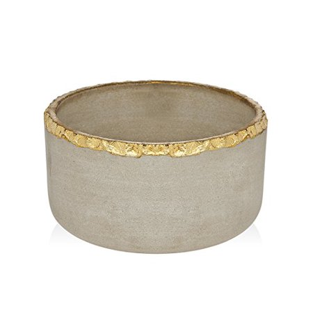Stone Salad Bowl Gold Edge