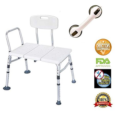 HEALTHLINE Tub Transfer Bench with Back and Free Balance Assist Suction Grab Bar, Plastic Shower Transfer Bench Lightweight Medical Bath Shower Chair for Elderly, Disabled, Adjustable Height, (Best Cc For Balance Transfers)