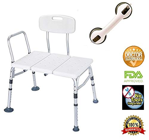 HEALTHLINE Tub Transfer Bench with Back and Free Balance Assist Suction Grab Bar, Plastic Shower Transfer Bench Lightweight Medical Bath Shower Chair for Elderly, Disabled, Adjustable Height, White