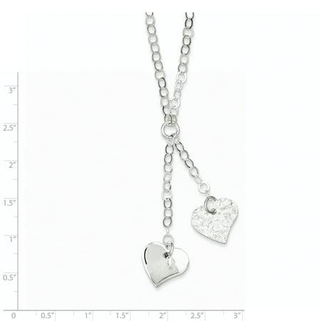 925 Sterling Silver Fancy Heart Necklace 18 Inch - image 1 de 2