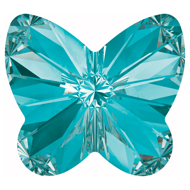Swarovski Crystal, #4748 Rivoli Butterfly Rhinestones 10mm, 4 Pieces, Aquamarine F
