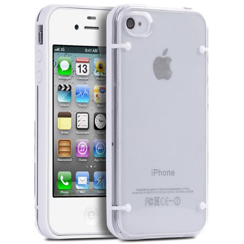 ULAK iPhone 4 4S Case, Bumber Clear Case Cover with Clear Crystal Transparent Hard Rubber Clear Back Panel for iPhone 4 4S (White)