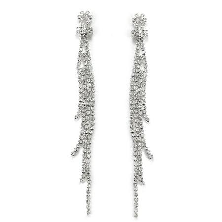 - Silver Crystal Rhinestone 4 Strands Long Drop Dangle Earrings