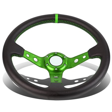 350Mm Green 6 Bolt Spoke Green Stitched Pvc Leather Racing Steering Wheel