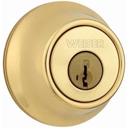 Elements Bright Brass Single Cylinder Deadbolt Round Corner Adjustable Latch