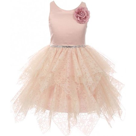 Big Girl Flower Girl Lozenge Cut Tiered Tull Overlay Lace Dress Blush 10 (Laser Cut Tiered Dress)