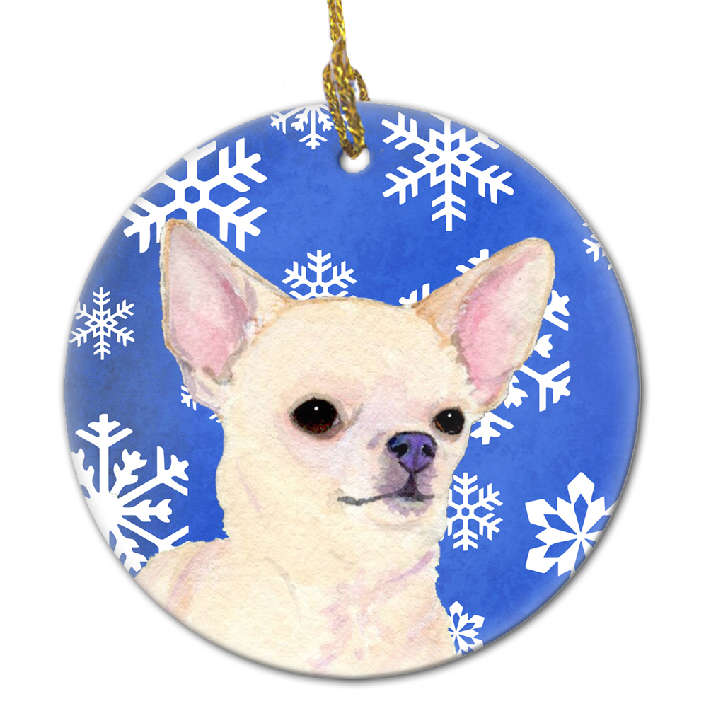 Chihuahua Winter Snowflakes Holiday Christmas Ceramic Ornament SS4610