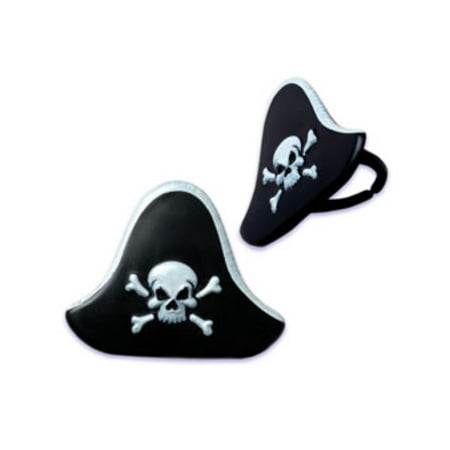 24pack Pirate Hat Cupcake / Desert / Food Decoration Topper Rings with Favor Stickers & Sparkle Flakes (Pirate Decoration Ideas)