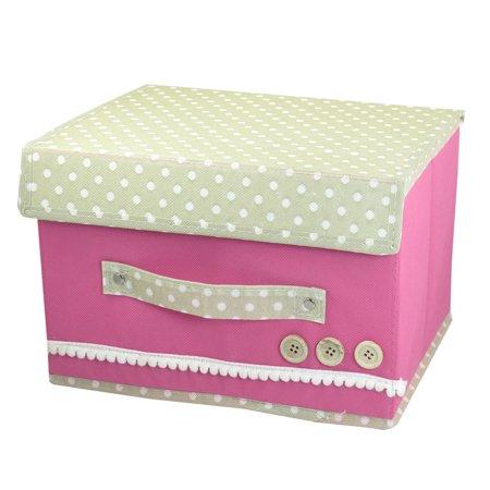 Unique Bargains Detachable Closure Dots Design Fuchsia Foldaway Storage Organizer Case Box