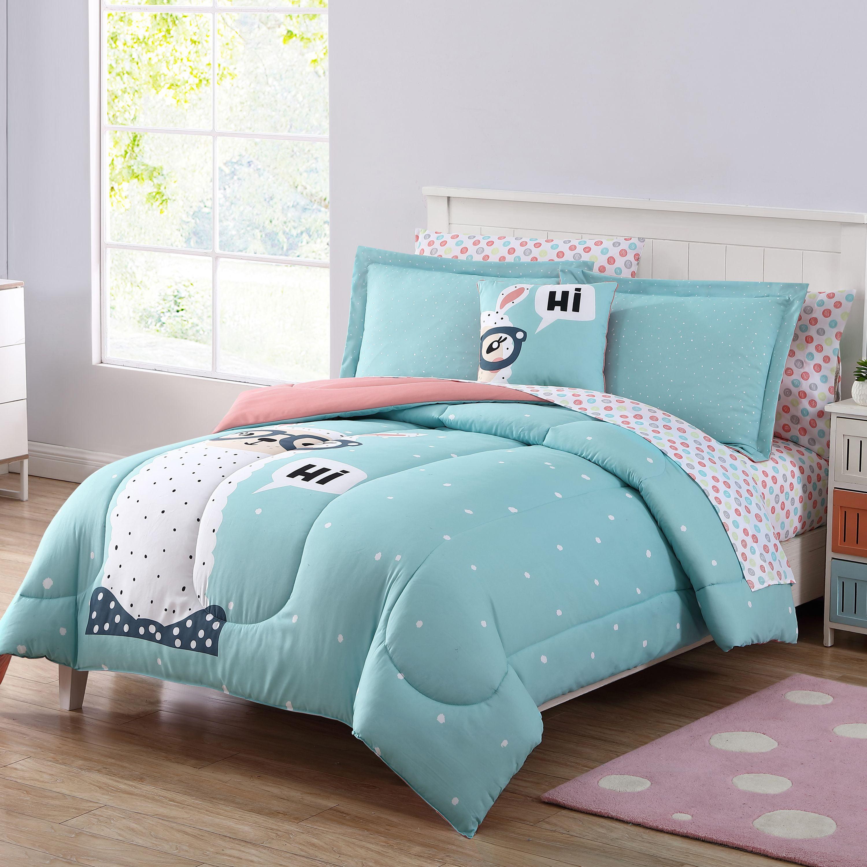 Your Zone Hi Llama Bed In A Bag With Decorative Pillow Walmart Com Walmart Com