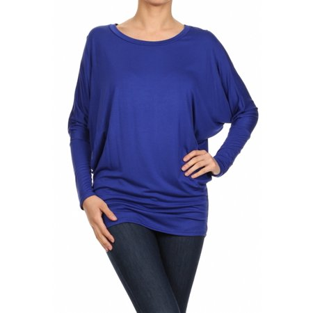 Sassy Apparel Womens Dolman Sleeve Tunic Knit Top with Scoop Neckline