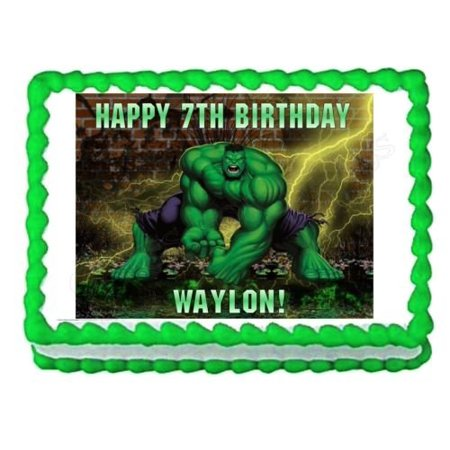 1/4 Sheet Incredible Hulk Edible Frosting Cake Topper*