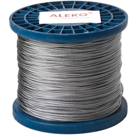 """ALEKO WR1/16G304F1000 1/16"""" 7X7 304 Aircraft Galvanized Steel Cable Wire Rope, 1000"""