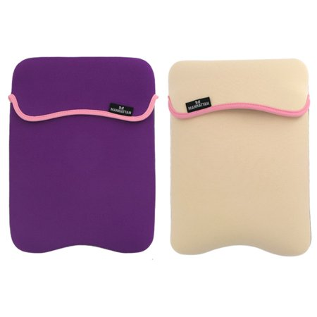 Reversible Notebook Sleeve Fits Most Widescreens Up to 12.1 Purple and Cream- XSDP -421867 - The Reversible Notebook Sleeve provides lightweight, cushioned protection for notebook computers again Computer Equipment Protection