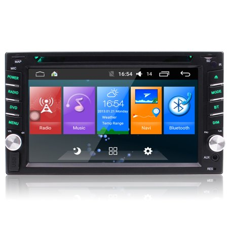 Android 6.0 Quad Core Car Radio Stereo 7 6.2 Inch Capacitive Touch Screen High Definition Video Player GPS Navigation Bluetooth USB DVD CD Player
