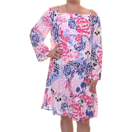 Watercolor Dresses (Inc International Concepts Watercolor Lillies Dress Off The Shoulder Size L NWT -)
