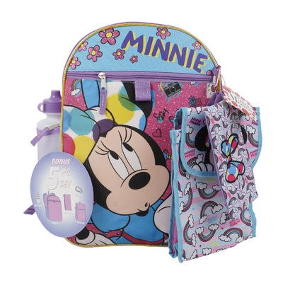 Disney Minnie Mouse 5pc 16in Backpack comes with a utility case, a carabiner, a snack tote, and a water - Minnie Mouse Water Bottle