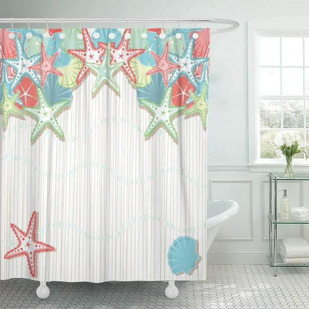 Cynlon Seashell Beach Party Colored In Shades Of Coral Bathroom Decor Bath Shower Curtain 60x72 Inch Walmart Com Walmart Com