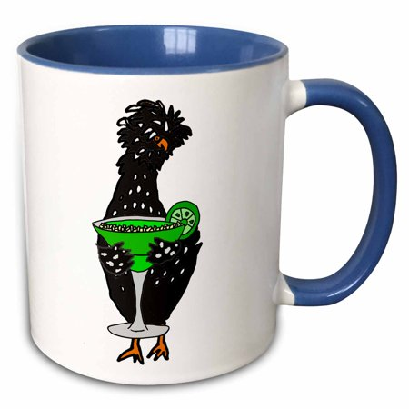 3dRose Funny Funky Polish Chicken Drinking Lime Margarita Drink - Two Tone Blue Mug, 11-ounce