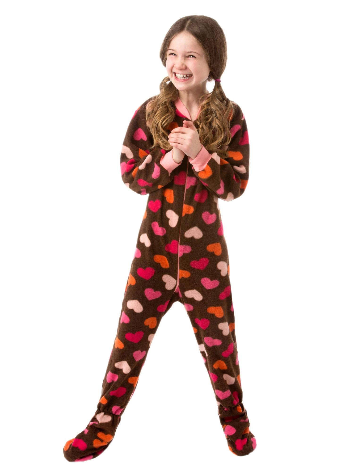 Big Feet Pjs Kids Footed One Piece Sleeper Chocolate Brown with Hearts Footed Pajamas