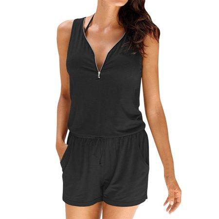 V-neck Zipper Sleeveless Solid jumpsuit Short Elastic Waist Bodysuit