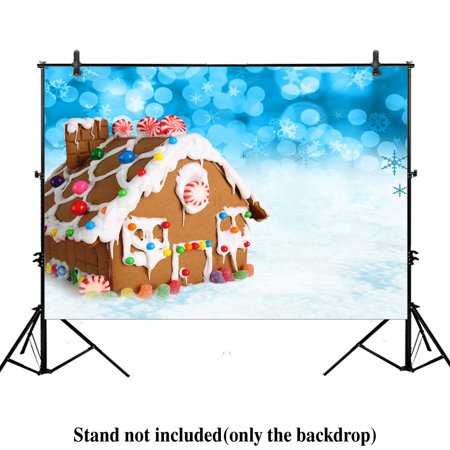 GreenDecor Polyster 7x5ft Xmas new year photography photo backdrop background christmas winter delicious candy Gingerbread House snow snowflake - Snow Backdrop